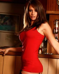 Anastasia Harris: Red Dress At the Bar