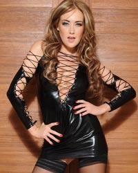 Lucy Anne: Tight Black PVC Outfit