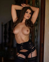Sarah in black lingerie and stockings